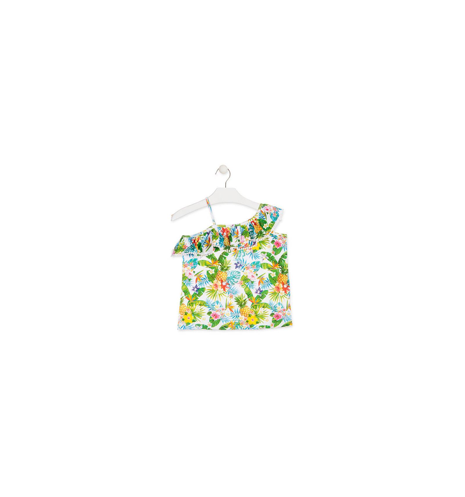 7723c2709 Losan Camiseta para niña de tirantes con estampado tropical